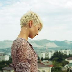 Bleached blonde pixie. SO cute. I don't think I could ever be brave enough.