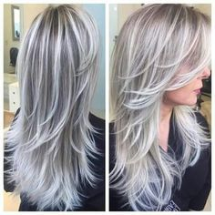 silver blonde hair highlights going gray Platinum Blonde Hair Color, Grey Blonde, Silver Blonde Hair, Ombre Hair Color, Blonde Color, Cool Hair Color, Silver Ombre, Gray Ombre, Hair Color Silver Grey