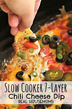 REAL Slow Cooker 7-Layer Chili Cheese Dip l Real Housemoms INGREDIENTS: 2 (15-oz.) cans thick chili (I used Nalley's); 16oz sour cream; 8oz cheddar cheese, grated; 2.25oz black olives, drained; 1/4c pickled & sliced jalapeños; 2 Roma tomatoes, cut in half, remove seeds & juice, diced; 1/4c green onions, sliced; party sized bag of large fritos