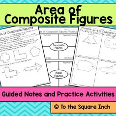 Area of Composite Figures Notes and Activities, Common Core Standard: 6.G.A.1Everything you need to introduce and practice area of trapezoids. Included in this product: -Area of Composite Figures Guided Notes-Area of Composite Figures Practice Page-Area of Composite Figures  Frayer Models for Vocabulary Practice-2 different warm-ups (2 per page)-2 different exit slips (2 per page)-Answer keys Be sure to check out the preview to see all pages This product can be purchased at a discount…