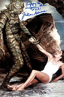 """Julie Adams, famously pursued in the 1954 horror classic, """"Creature from the Black Lagoon""""."""