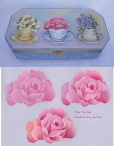 Rose Tea Box by Lynn Deptula has three varieties of roses nestled in teacups.