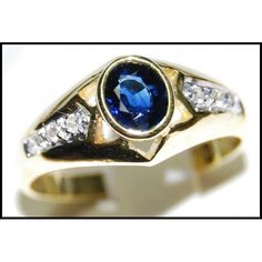 Diamond 18K Yellow Gold Oval Solitaire Blue Sapphire by BKGjewels