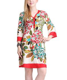 Take a look at the Reborn Collection Red & Teal Floral Button Accent Dress on #zulily today!