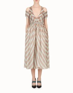 FENDI DRESS - Light green silk gauze dress - view 1 detail