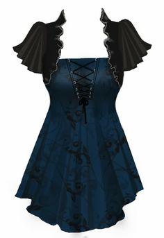 Love this gothic, steampunk flair top // style // t shirt // blouse // clothes // fashion Steampunk Accessoires, Mode Steampunk, Steampunk Clothing, Steampunk Fashion, Gothic Fashion, Gothic Steampunk, Victorian Gothic, Dark Fashion, Emo Fashion