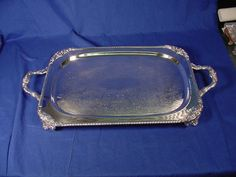 Vintage HEAVY Sheffield Silver Plate On Copper Footed Serving Tray
