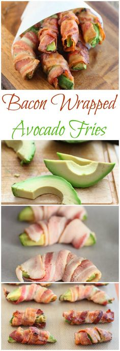 Bacon-Wrapped Avocado Fries ~ paleo, Atkins, low-carb, high-protein, and gluten free! Avocado Recipes, Paleo Recipes, Low Carb Recipes, Cooking Recipes, Free Recipes, Easy Recipes, Bacon Recipes, Avocado Dishes, Pepperoni Recipes