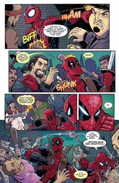 Deadpool Stuff, Deadpool And Spiderman, Spiderman Art, Marvel Funny, Marvel Dc Comics, Marvel Heroes, Marvel Avengers, Spideypool Comic, American Comics