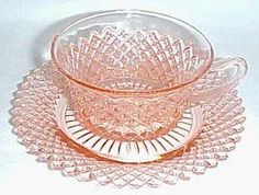 """Lovely pink Depression Glass cup and saucer in the """"Miss America"""" pattern.  Made by Hocking Glass from 1933 to 1937."""