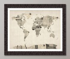 Map of the World Map from Old Postcards, Art Print, 18x24 inch (896). £14.99, via Etsy.