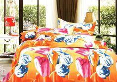 Спално бельо от 6 части - Слъчеви лалета. Спален комплект от 6 части от 100% памук. Ефектен слънчев десен в жълто и оранжево. Красиви лалета в синьо и розово са по целия десен и му придават свежест. Материята е мека и приятна и тъй като прекарваме много време в сън е необходимо да се чувстваме добре и уютно, затова ви предлагаме прекрасния спален комплект.