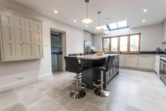 We love our Dove Grey Limestone in this beautiful kitchen from CPL Kitchens. The soft grey tones work wonderfully in this large space.