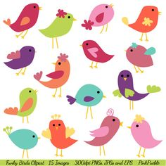 Check out Funky Birds Vectors and Clipart by PinkPueblo on Creative Market