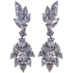 1STDIBS.COM Jewelry & Watches - Diamond & Platinum Drop Cluster... ❤ liked on Polyvore featuring jewelry, earrings, accessories, jewels jewelry, jewel earrings, jeweled earrings, diamond jewellery and diamond cluster earrings