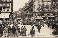 """La rue du Faubourg-Montmartre et son fameux """"carrefour des écrasés"""", vers 1900  (Paris 9ème)"""