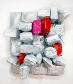 Jim Lambie - Love in Outer Space, 2015.  Potato bags, acrylic paint, expanding foam on canvas,  203 × 185 × 69cm
