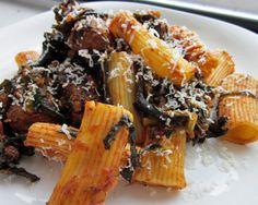 Rigatoni with Tuscan Kale, Black Trumpet Mushrooms, and Sausage Recipe
