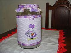 Brasil Arte Clara: Potes de Vidro Decorados com Decoupage de guardanapo e forração em tecido.