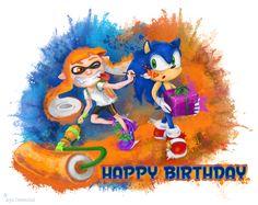 Sonic Splatoon Inkling Happy Birthday Aya Oweenbel