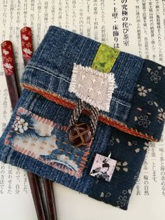 Boro Jewellery or Cosmetic Pouch Sashiko Stitched and Recycled