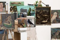 IMMA Collection: Nick Miller and the studio of Edward McGuire: Installation view of Edward McGuire Studio contents with artwork by Nick Miller, IMMA Artist Residency Programme, May 2015