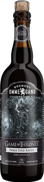 """Three-Eyed Raven """"a Dark Saison ale, a hybrid style open to brewer's imagination. In the end it is neither a pure saison nor your typical dark beer, but instead a delectable blend that both deceives and thrills the senses."""" Brewery Ommegang, Cooperstown NY (750ml 7.2%) April 2015"""