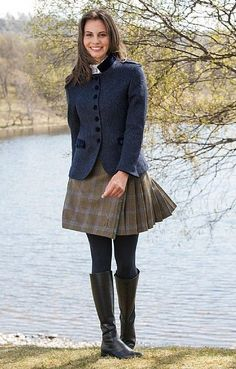 But in leather, of course [Ladies Short Tweed Kilt - House of Bruar] Country Wear, Country Fashion, Country Outfits, Tartan Fashion, Skirt Fashion, Fashion Outfits, Womens Fashion, Kilt Skirt, Tweed Skirt