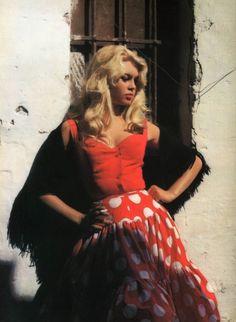Brigitte Bardot on the set of La femme et le pantin directed by Julien Duvivier, 1959. Photo by Roger Corbeau
