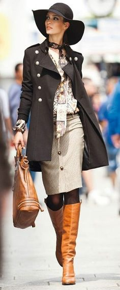 Mid length trench coat, pencil skirt, with these golden full calf boots, and a gorgeous sun hat to top off this Fall bombshell.