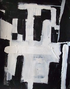 Custom Made 40 x 30 original black and white modern abstract geometric minimalist painting by DJ DOMI