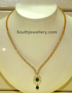 Simple and Elegant Diamond Necklace - Indian Jewellery Designs South Jewellery
