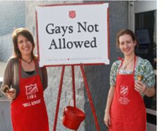Before you feed the Salvation Army kettle this holiday season, remember that they have stated that 'Gays Need to be Put to Death'. They'll never get another penny from me.