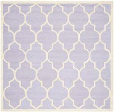 Sandra Ivory & Lavender Geometric Wool Hand-Tufted Area Rug