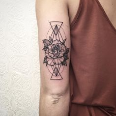 Rose on Devin from today - thanks again #tattoo #blacktattoo #blackworker #rose #botanicaltattoo #geometry