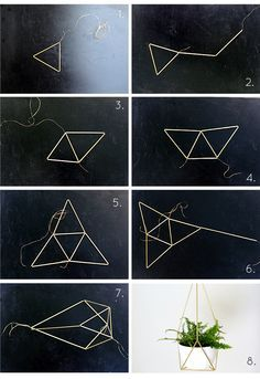 DIY Brass Himmeli Hanging Planter Step-by-Step Tutorial by Nalle's House