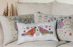 Long Tail Bird Cushion  Etsy Embroidery Kit by NancyNicholsonDesign