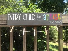 Every Child is an Artist -Pablo Picasso- This sign measures 24 long by 5.5 wide. All of our signs are hand crafted by us with high grade pine wood. We cut each piece to size, sand, hand paint (no vinyl) and seal to protect them for years to come! Each sign comes with 2 sawtooth