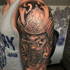 Japanese Samurai Warrior Shoulder Tattoo - Shoulder Tattoos For Men: Best Should. Japanese Samurai Warrior Shoulder Tattoo - Shoulder Tattoos For Men: Best Shoulder Tattoo Ideas and Cool Designs For Samurai Maske Tattoo, Samurai Tattoo Sleeve, Samurai Warrior Tattoo, Armor Tattoo, Warrior Tattoos, Warrior Tattoo Sleeve, Irezumi Sleeve, Japanese Warrior Tattoo, Japanese Mask Tattoo