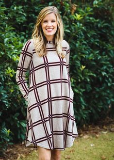ea9458037 A great casual winter dress. Checker Print, Casual Winter, Beige Color,  Epiphany