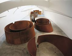 Richard Serra The Matter of Time, Eight sculptures, weathering steel Variable dimensions Guggenheim Bilbao Museoa Richard Serra, Science Gallery, Guggenheim Museum Bilbao, Weathering Steel, Sculpture Metal, Art Archive, Exhibition Space, Modern Artists, Land Art