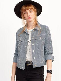 Blue Vertical Striped Single Breasted Pocket Jacket