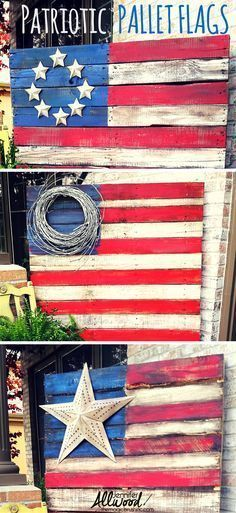 to make a Patriotic Pallet Flag Celebrate Independence Day / Fourth of July with some decorative Patriotic Pallet Flags. Free videos by on how to do it step-by-step, prepping, painting and staining! Pallet Crafts, Diy Pallet Projects, Wood Crafts, Woodworking Projects, Diy And Crafts, Craft Projects, Teds Woodworking, Woodworking Lamp, Crafts With Pallets
