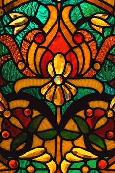 """More from the """"Color just because I can!"""" file.  This is a piece of antique Victorian stained glass that hangs in the State of Michigan Museum in Lansing.  It is originally from the Hackley Mansion (which is found in Muskegon, MI).   Hackley was a local lumber baron who helped develop the city in the late 1800s.  Many places in Muskegon carry his name.  I was pretty pleased with how well this turned out ... the lighting in the museum wasn't at all """"photo friendly"""" ... I had to take this hand…"""