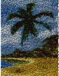 Palm Tree Bottle Cap Mosaic print by Paul Van Scott