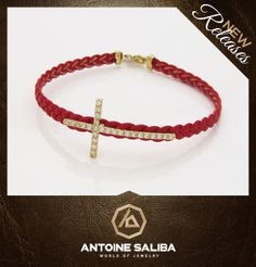 Get Inspired - Christmas Gifts  Cross Bracelet 18Kt Gold with Leather Strap Click for Details  http://antoinesaliba.com/link.php?id=356