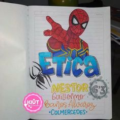 School Notebooks, Spider Gwen, Relleno, Goku, Iron Man, Spiderman, Lettering, Notebook, Cute Notebooks