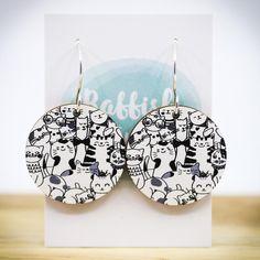 Cat Earrings. Sterling Silver Hooks. Wood Earrings. Cat | Etsy Wooden Earrings, Bar Earrings, Etsy Earrings, Sterling Silver Earrings, Statement Earrings, Christmas Tree Earrings, Christmas Jewelry, Dog Jewelry, Etsy Jewelry