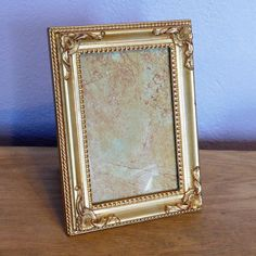 Vintage Hollywood Regency Gold-Painted Picture Frame - Burnes of Boston Frame - 5 x 7 inches w/ Glass - Ornate Gold Gilded Gilt Beaded