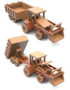 Super ReallyWood Big Farm Tractor $ Grain Dumper Full-Size Wood Toy Plan Set